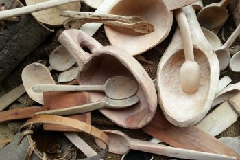 Whittled spoons and cups from the woodlands