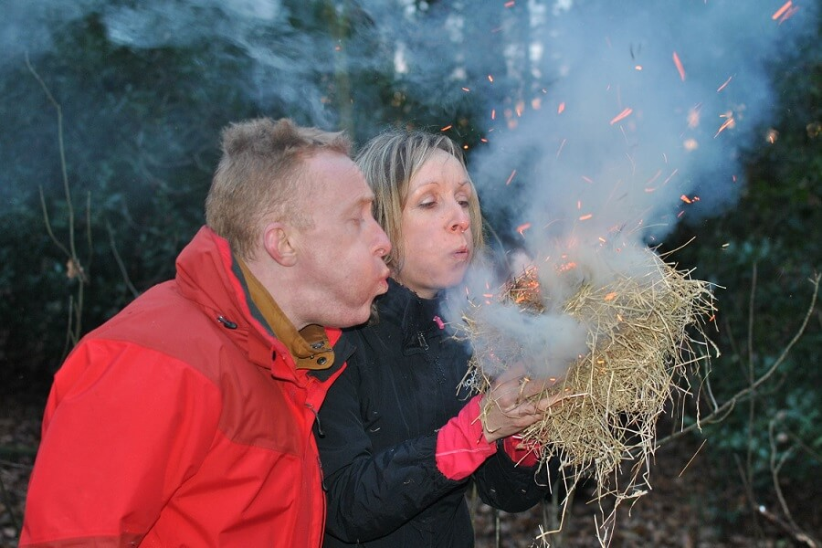 January - a great time to be learning the art of fire in a Chilterns woodland