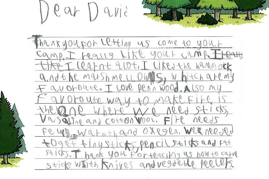 July - One of the thank you letters received from the children of the Buckinghamshire Pupil Referral Unit