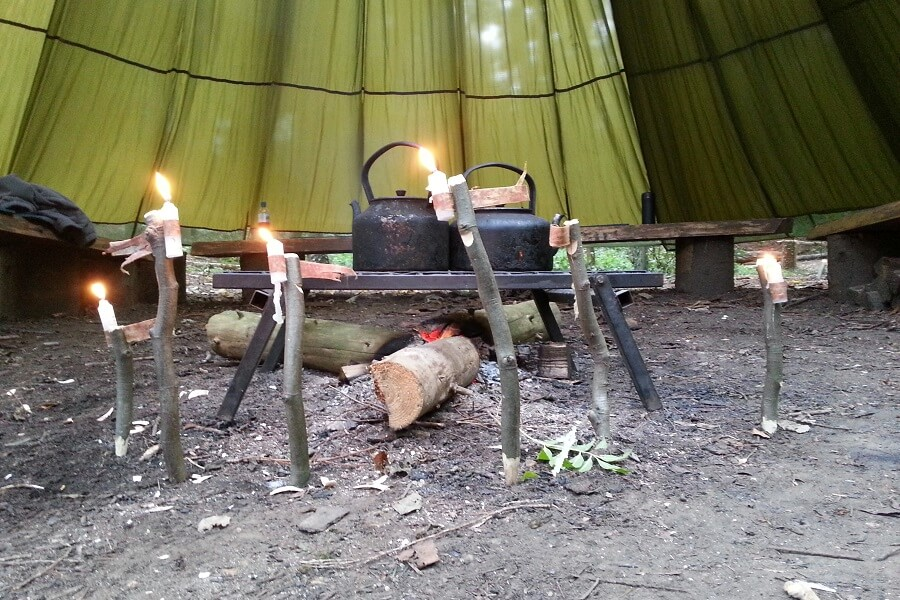 Knife skills; camp gadgets candle sticks