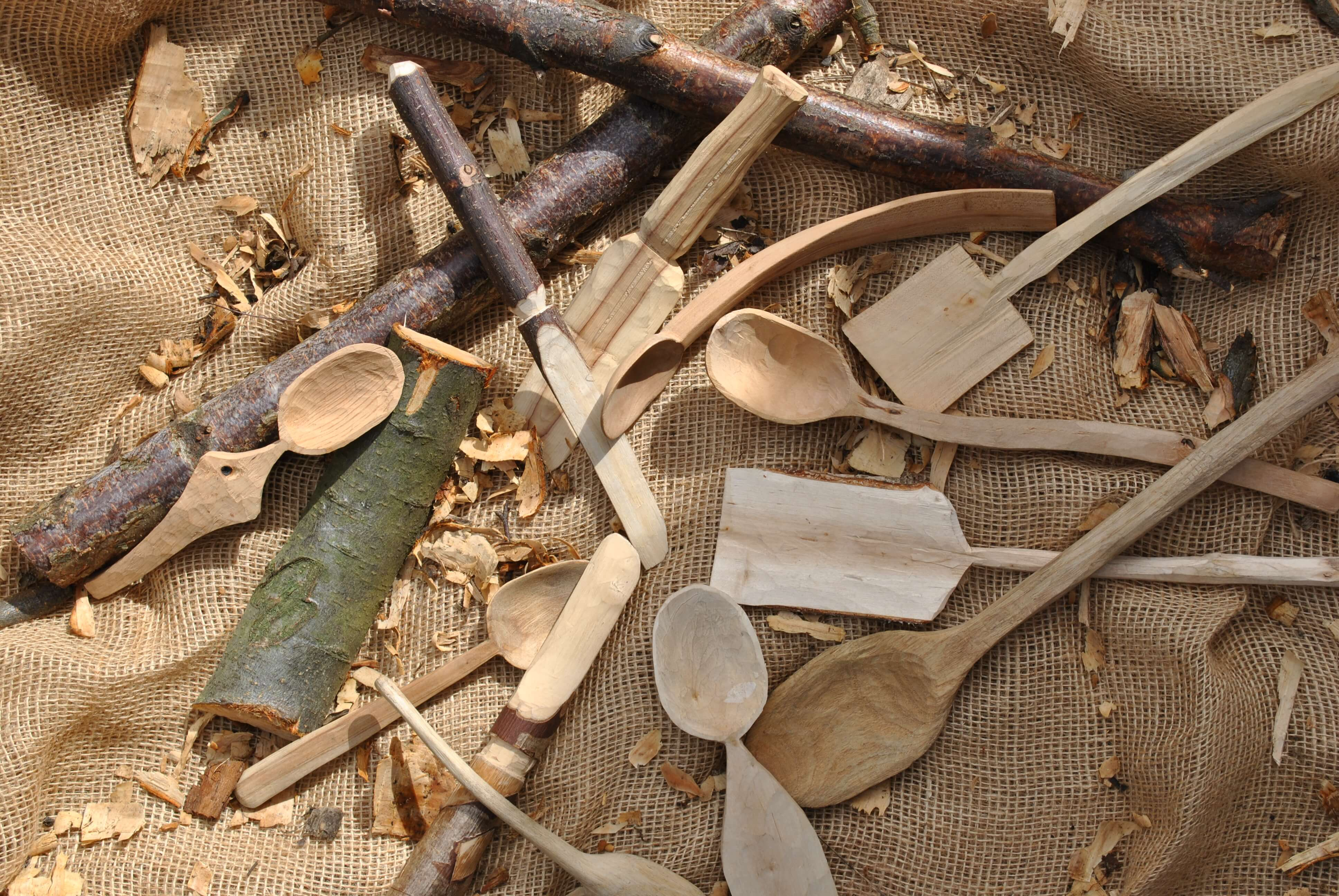 Wood carved selection of utensils