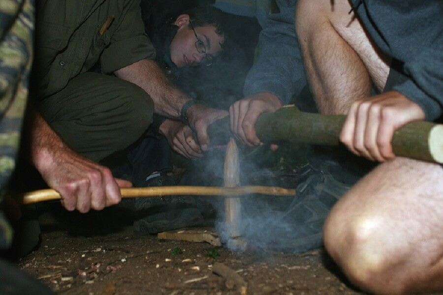 Explorer Scouts learn fire-by-friction