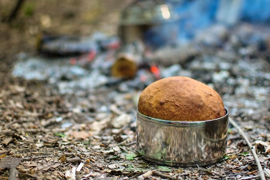 Fresh baked bread in tiffin tin