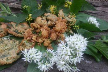 Fritters of elder flower, nettle and wild garlic