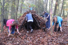 Children enjoy building shelters and dens in the woods