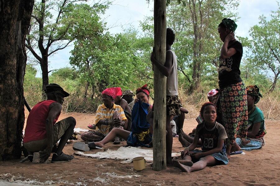 Namibia - San working hides