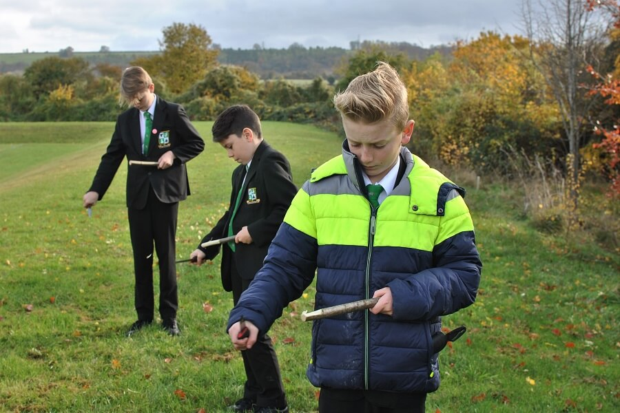 Lunchtime whittling at Princess Risborough School - Bushcraft enrichment