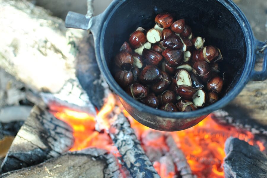Sweet chestnuts pan roasting