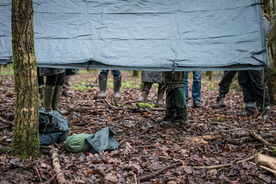 Tarpaulin shelter - practical, light weight and quick to set up