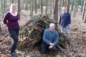 Natural shelter built by one of the teams