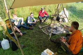 Teaching bread baking at the Wilderness Gathering
