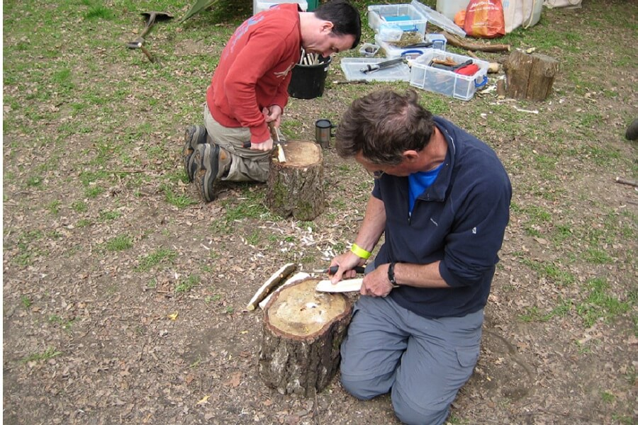 Woodland crafts; learning spoon carving