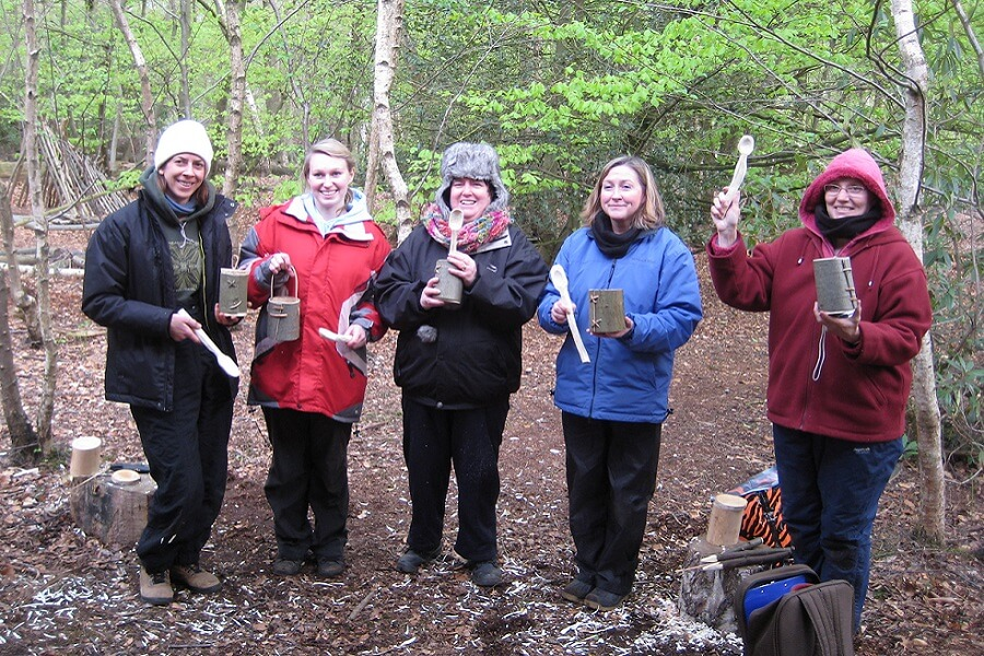 Forest School group CPD event; woodland crafts; carving spoons and making bark containers