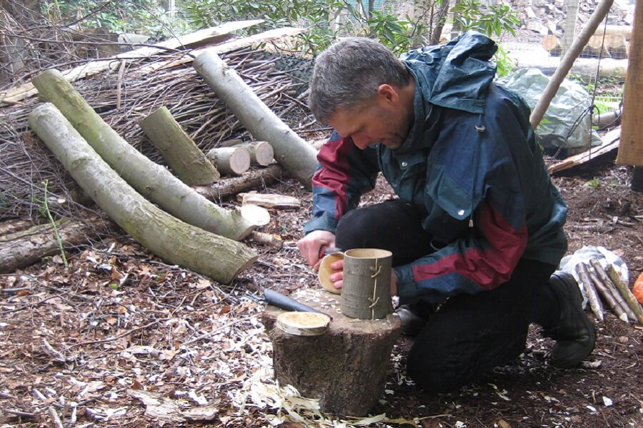 Woodland crafts making a sweet chestnut container